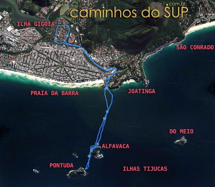 Mapa da travessia de satand up da Praia da Barra até as Ilhas Tijucas e Gigóia