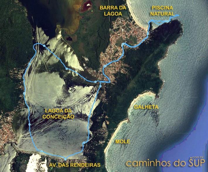 Mapa da travessia de stand up paddle na Lagoa da Conceição
