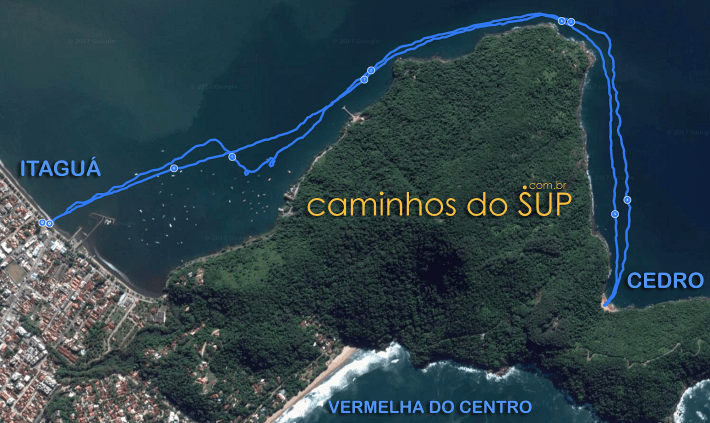 Mapa da travessia de Stand Up Paddle em Ubatuba