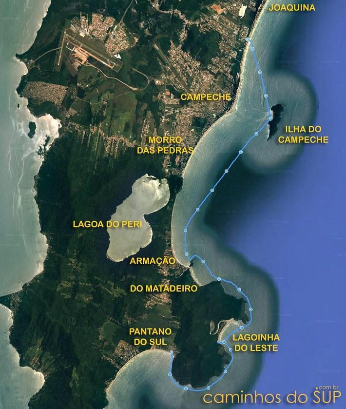 Mapa de travessia de stand up no litoral sul de Floripa