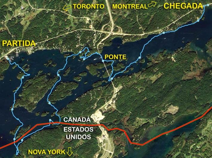 Mapa da travessia de SUP do Canadá aos EUA e de volta ao Canadá