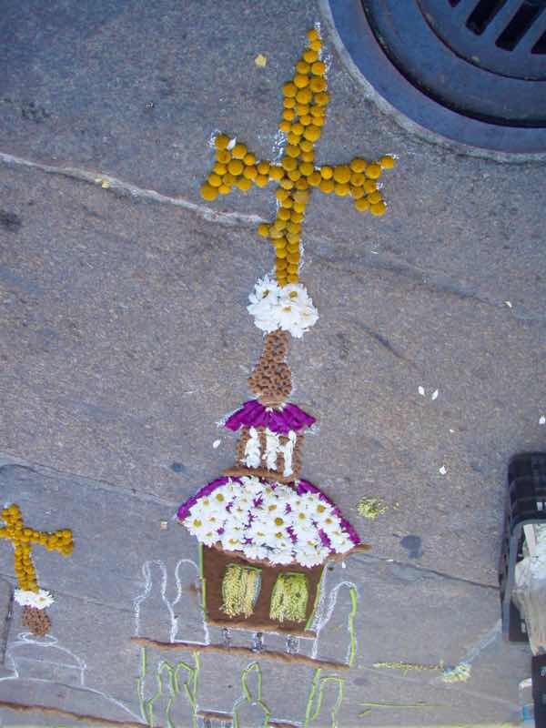 606サンティアゴ Santiago Camino 街並フラワーアートアップ