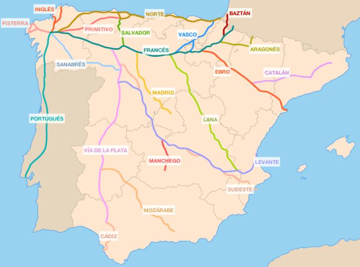 Chemin de Compostelle Espagne - carte