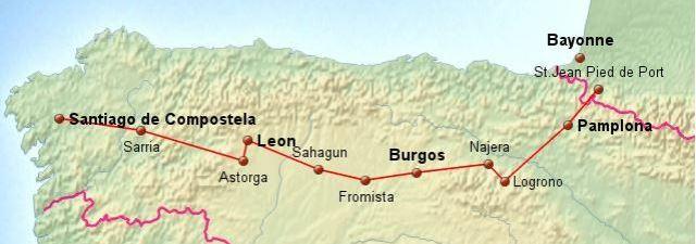Karte vom Camino Francés