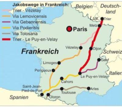 Karte mit den Hauptwegen durch Frankreich