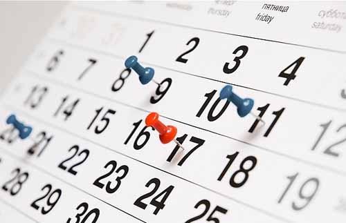 Calendario de próximos eventos