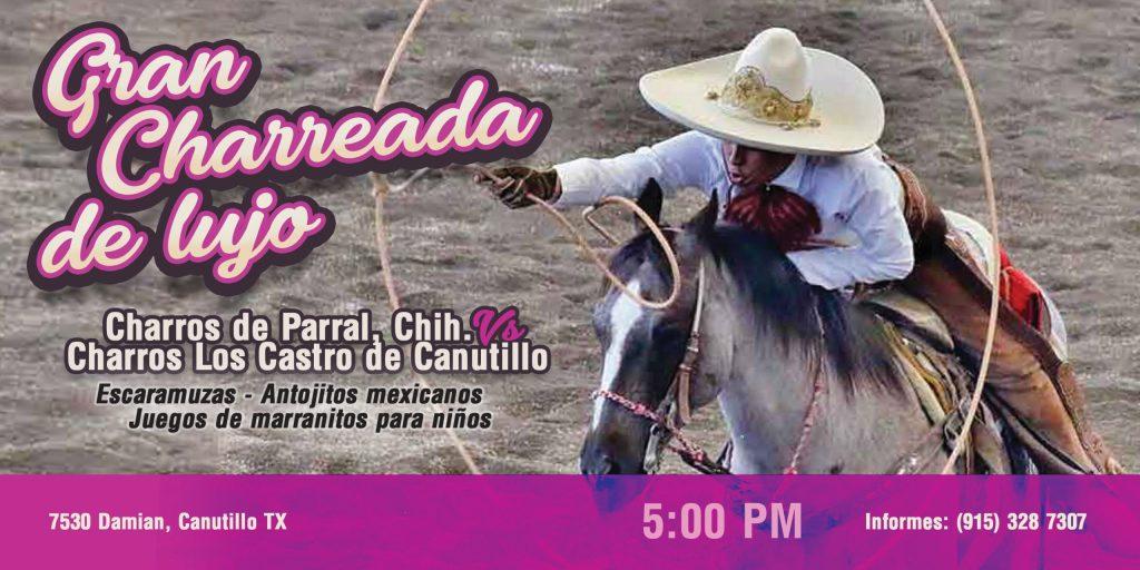 Domingo 26 a las 5 Gran Charreada Lienzo de Los Castro