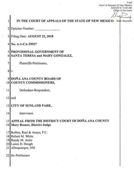 Corte de Apelaciones acepta argumentos de Santa Teresa contra anexión de Sunland Park