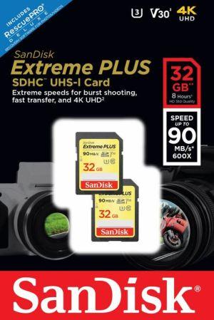Sandisk 32GB Extreme Plus SDXC U3, V30, 90mb/s, Twin Pack