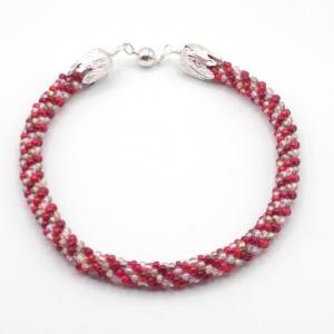 """""""Ruby""""/Bronze-lined Crystal Kumihimo Czech Glass Necklace"""