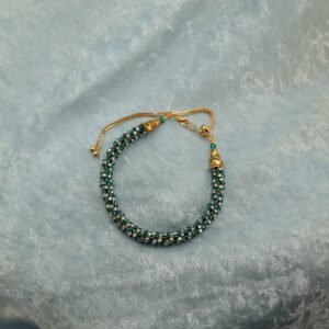 Green/Crystal Kumihimo BOLO Czech Glass Anklet