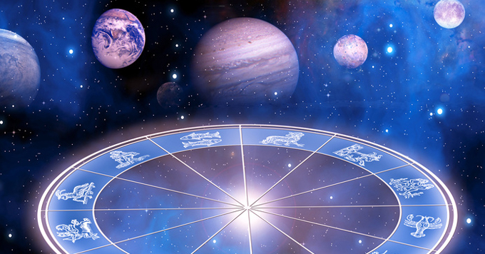 zodiac sigsn and planets over starry Universe like a concept of astrology and planets