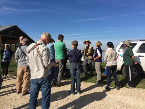 Dr. Anderson showcases the bird blind and birding at Hornsby Bend