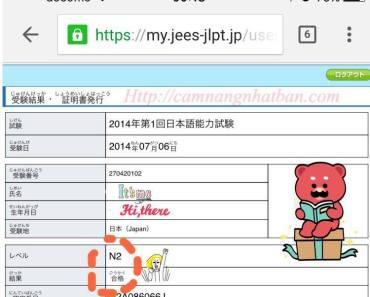 Bảng điểm kết quả thi JLPT