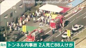 2 người chết 88 thương do tai nạn liên hoàn trong đường hầm xuyên núi ở Hiroshima Nhật Bản