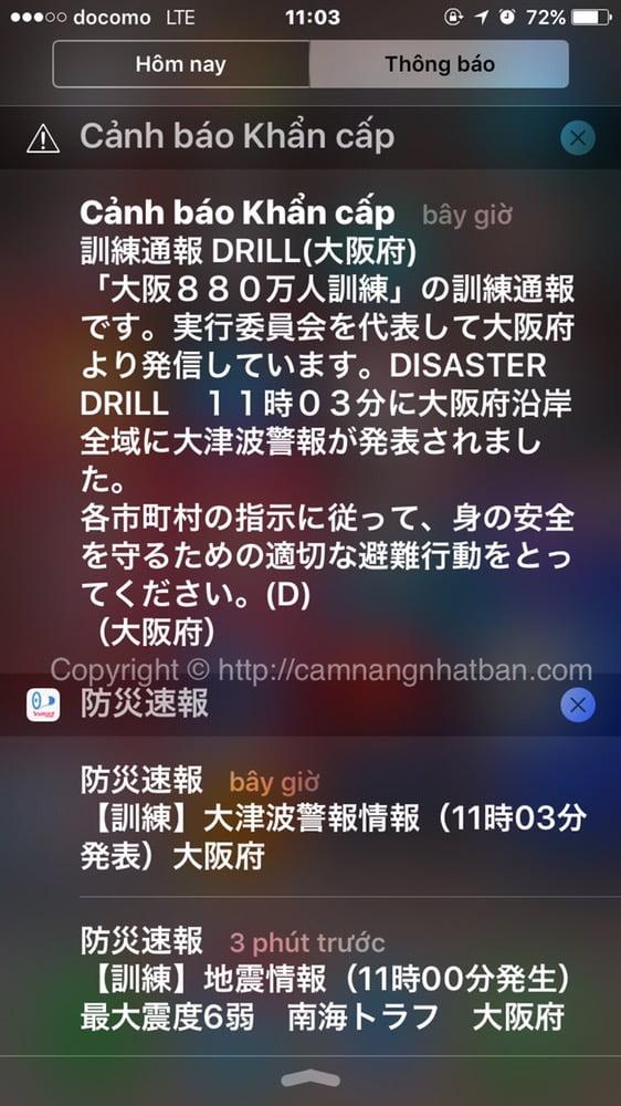 cảnh báo động đất 6 độ  ở Osaka Nhật Bản