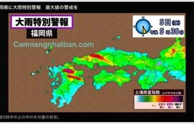Mưa lớn ở khu vực Kyushuu Nhật Bản