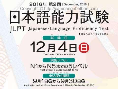 Đăng ký thi  JLPT lần 2.  12/2016
