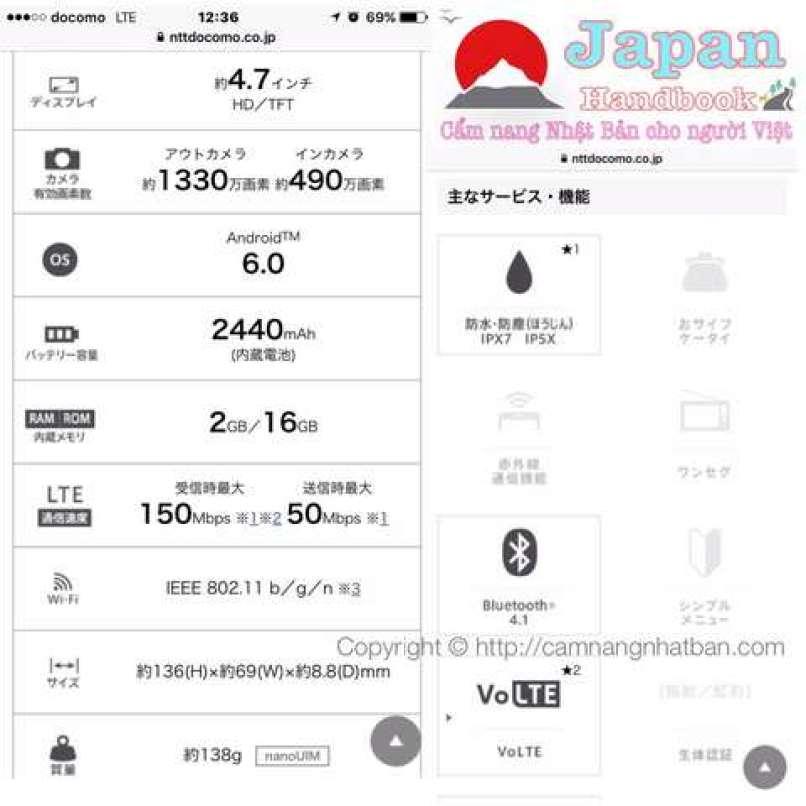 Thông tin về điện thoại smartphone MONO của Dococmo Nhật Bản