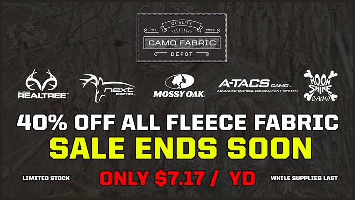 40% OFF Camouflage Fleece Fabric