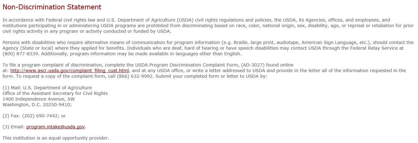 USDA NonDiscrimination - Medicine Mountain Scout Ranch