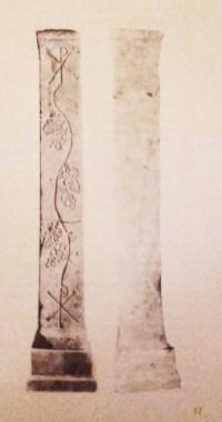 """I due Pilastrini dell'Altare della Basilica di S. Alessandro, vescovo di Baccano, ritrovati nel 1875 nella valle di Baccano, nei pressi di un cimitero cristiano, da un """"contadino campagnanese"""", oggi conservati al Museo Pio Cristiano."""