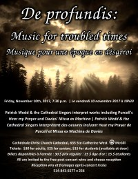 Music for Troubled Times poster for November 10, 2017 concert - 7 p.m. at Christ Church Cathedral Montreal