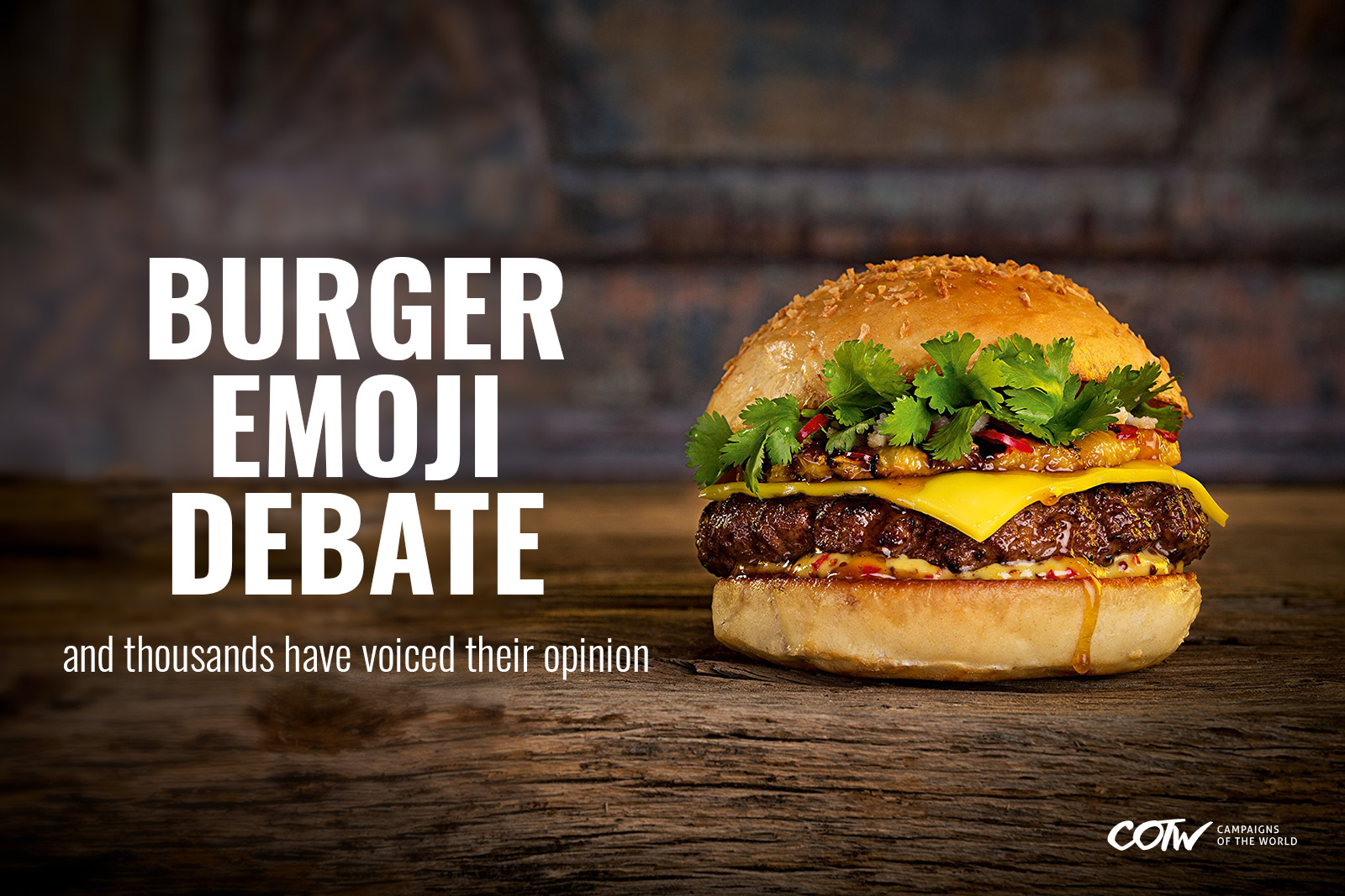 Should the cheese be underneath the patty or above it? Burger Emoji debate from the brands