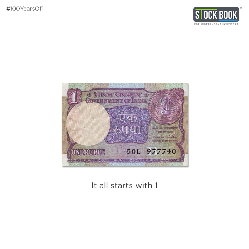 Stockbook celebrate 100 Years of 1 Rupee currency