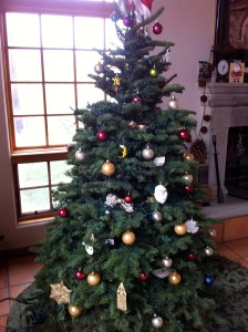 The Tree, with 20 years worth of ornaments (or those that survived)