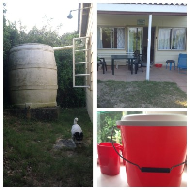 The rainwater tank, my chalet, the red pure water bucket