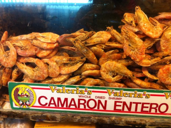 Dried shrimp on offer at Grand Central Market