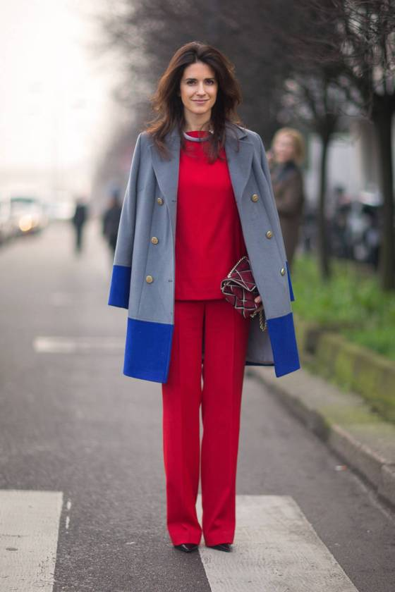 A bit fancier but age appropriate: classic lines but bold choices with colors (Diego Zuko for Harper's Bazaar on the streets of Milan)