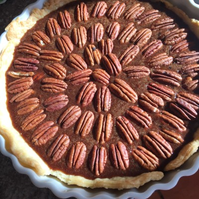 Pecan and chocolate pie right before going in the oven