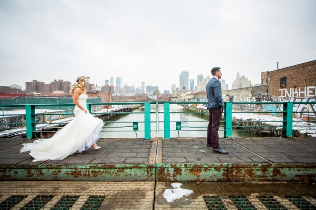 Bride and Groom First look in Gowanus, Brooklyn