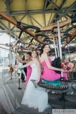 Janes Carousel, Brooklyn Wedding, Bride and Bridesmaid