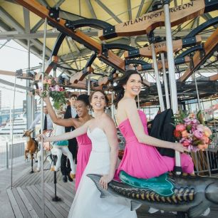 Janes Carousel, Brooklyn Wedding, Bride and Bridesmaid