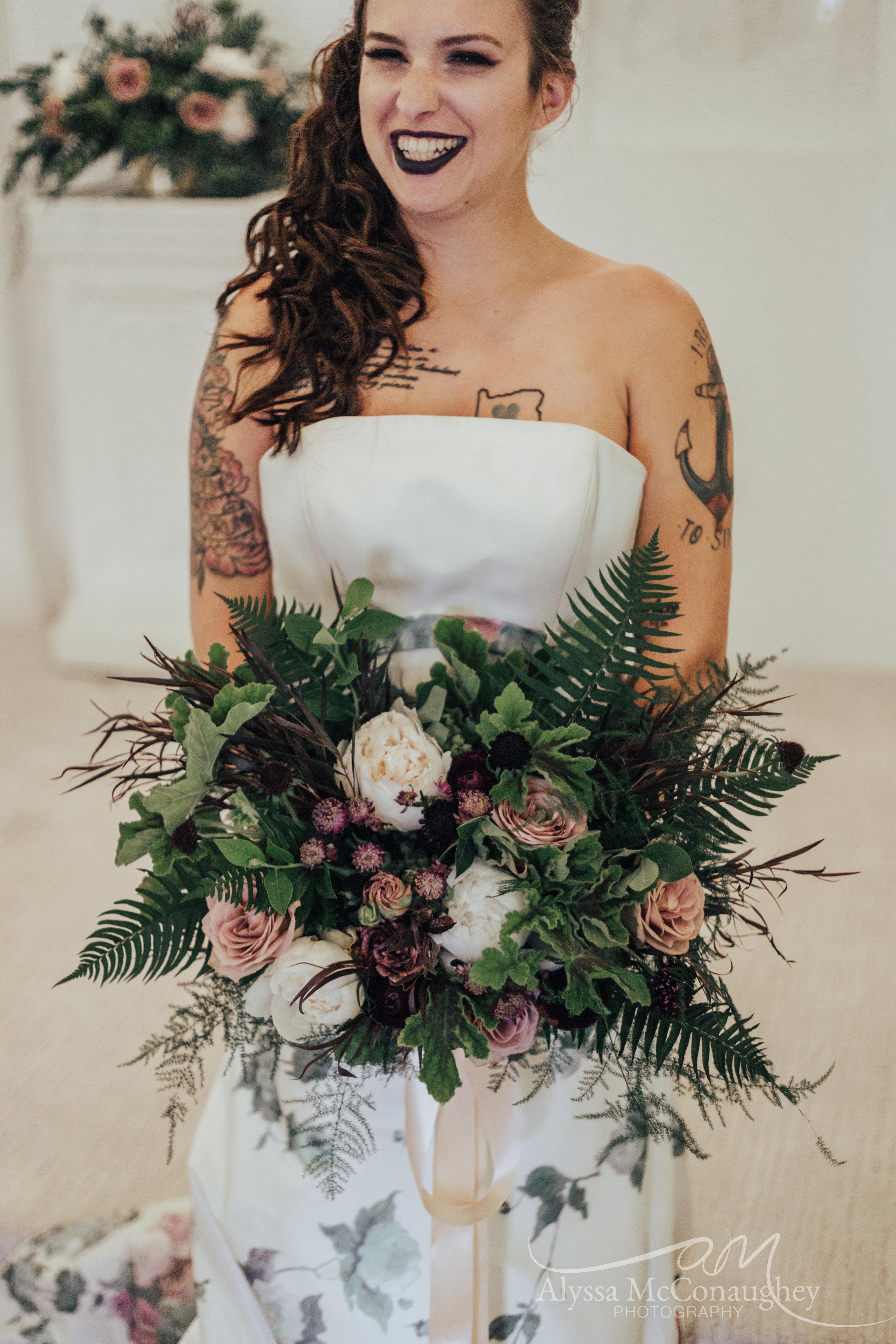 Non Traditional Bride at Altar