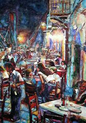 Harbour Cafe at Night by Asuman Dogan