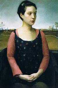 Woman outside - painting - Jeffery Chong Wang