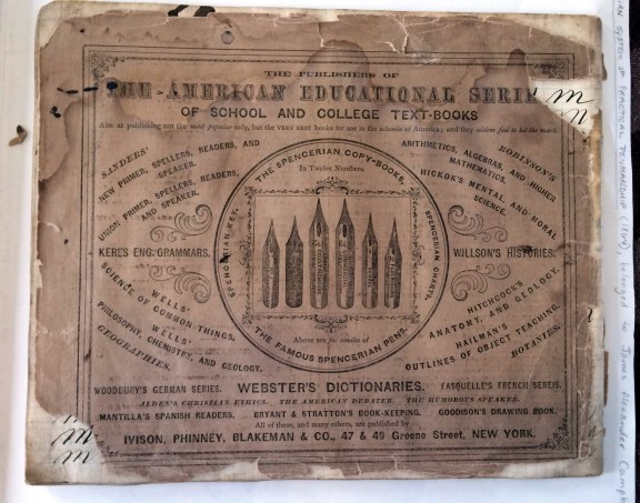 "Back cover of ""Spencerian System of Practical Penmanship"", ca. 1864"