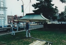 Copper roof of the early 20th century awning being lowered to the ground in 2000.