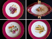 This magnificent set of Old Paris china was Virginia Campbell's best, purchased in the 1850s for her new home on Lucas Place. Each piece in the set of more than 200 plates and dishes is painted with a different fruit, nut, vegetable or flower. Only about half of the set remains at CHM today.