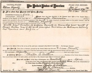 Filed Oct. 2, 1883, Homestead Certificate No. 3746 granted to William Hegarty