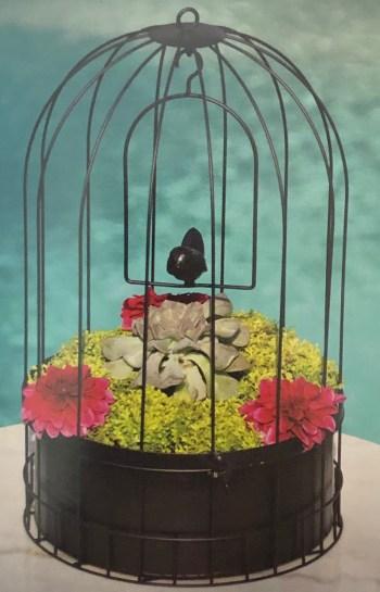 Bird Cage Hanging Basket with Metal Liner2