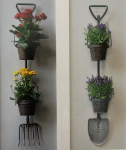 Pitchfork and Shovel Wall Planters