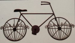 "Vintage Bicycle Wall Planter with 10"" Half Baskets"