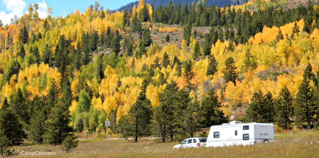 Aspen leaves and RV along Million Dollar Highway between Ouray, Silverton and Durango Colorado