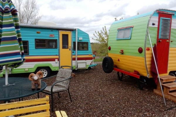 Rental trailers for other lodging option at Circle The Wagon RV Park (La Veta CO)
