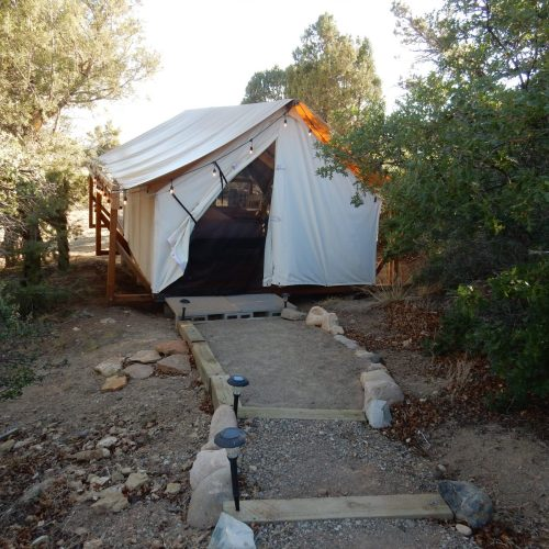 Glamping canvas tents at The Views RV Park & Campground (Dolores)